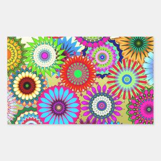 Trending Psychadelic Flower Power Print Accessory Rectangular Sticker