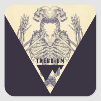 Trendium Vintage Symmetrical Skeleton Triangle Square Sticker