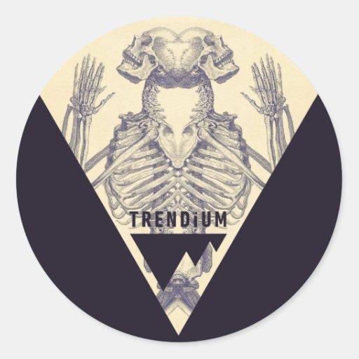 Trendium Vintage Symmetrical Skeleton Triangle Round Sticker