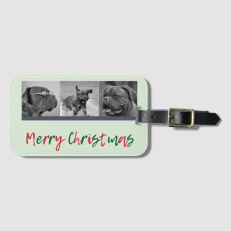 Trendy 3 Photo Collage Green Red Christmas Overlay Luggage Tag