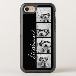 Trendy 4 Photos and Name - CHOOSE BACKGROUND COLOR OtterBox Symmetry iPhone 8/7 Case