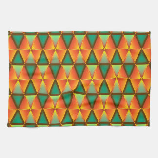 Trendy Abstract Orange And Green Daimond Pattern Kitchen Towel