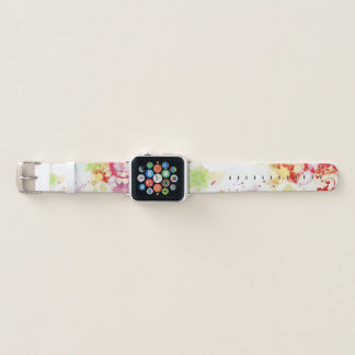 Trendy Abstract Pink Lime Purple Paint Drip Floral Apple Watch Band