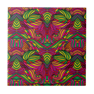 Trendy abstract tribal pattern. Brazil color. Small Square Tile