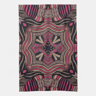 Trendy abstract tribal pattern.  Brown and pink. Towel