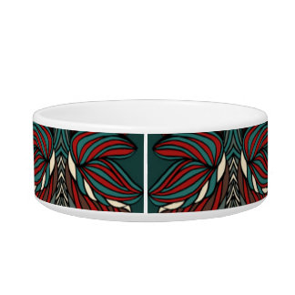 Trendy abstract tribal pattern.  Red and green. Pet Bowls