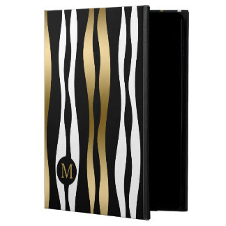 Trendy Abstract Zebra Stripes Black Gold & White Powis iPad Air 2 Case