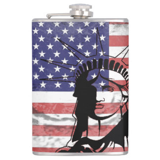 Trendy American Flag Statue Of Liberty Flask