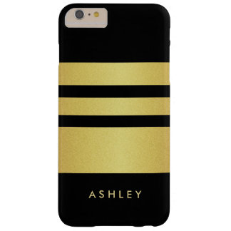 Trendy and Fashion - Black Gold Glitter Stripes Barely There iPhone 6 Plus Case