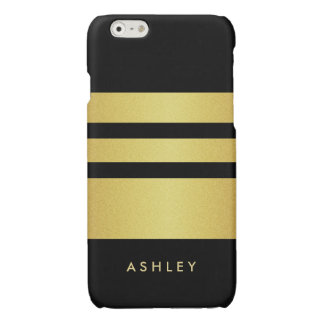 Trendy and Fashion - Black Gold Glitter Stripes Glossy iPhone 6 Case