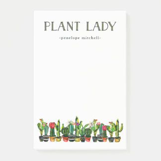 Trendy and Funny Plant Lady with Cactus Post-it Notes