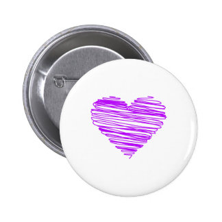Trendy and Modern Bright Purple Scribble Heart V01 6 Cm Round Badge