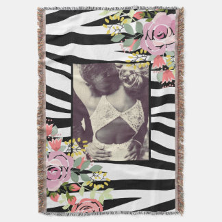Trendy animal print photo border throw blanket
