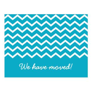Trendy aqua chevron pattern moving announcement postcard