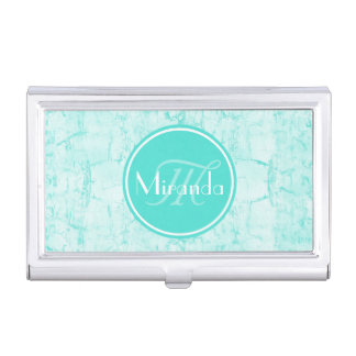 Trendy Aqua Mint Crackle Pattern With Monogram Business Card Holder