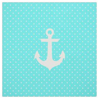 Trendy aqua white nautical anchor polka dots fabric