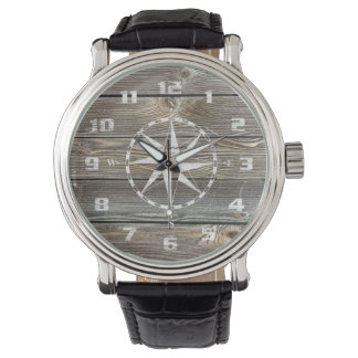 Trendy Authentic looking Wood Nautical Compass Watch