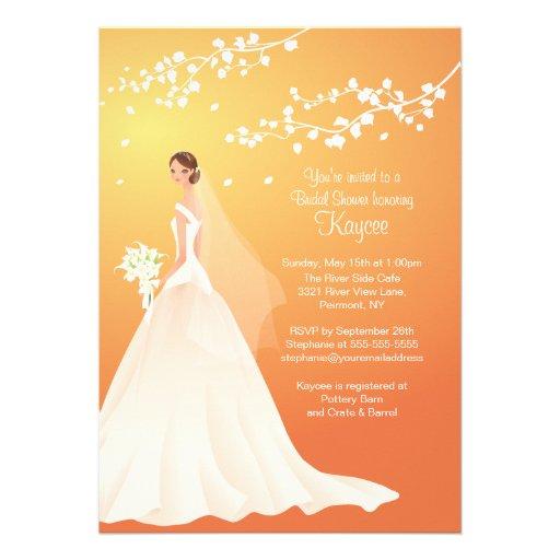 Trendy Autumn Gold Bride Bridal Shower Invite
