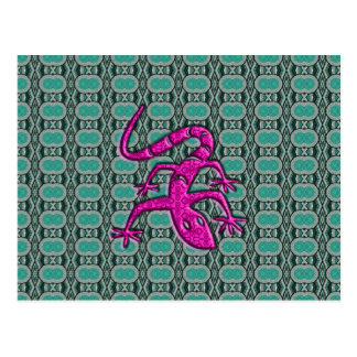 Trendy Aztec Lizzard in Pink and Teal Postcard