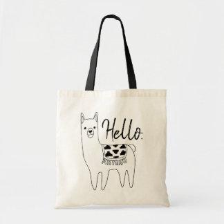 Trendy Aztec Llama Sketch Hello Tote Bag