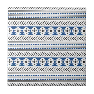 Trendy Aztec Tribal Print Geometric Pattern Blue Small Square Tile