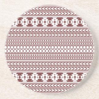 Trendy Aztec Tribal Print Geometric Pattern(Red) Beverage Coasters