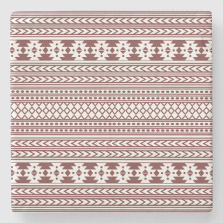 Trendy Aztec Tribal Print Geometric Pattern(Red) Stone Coaster