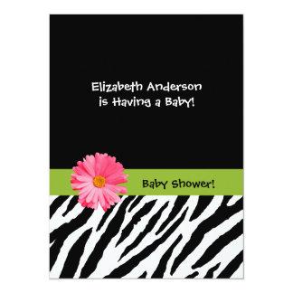 Trendy Baby Shower Zebra Pattern Pink Daisy 14 Cm X 19 Cm Invitation Card