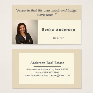 Trendy Beige Ivory Real Estate Photo Template Business Card