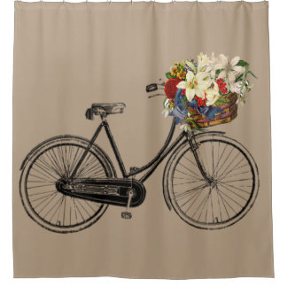 Trendy bicycle flower bike taupe Shower curtain