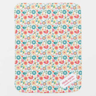 Trendy Bird Floral personalized baby blanket