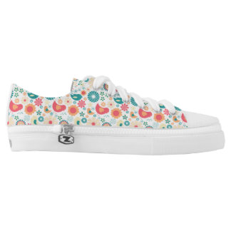 Trendy bird floral shoes, fun summer pattern low tops