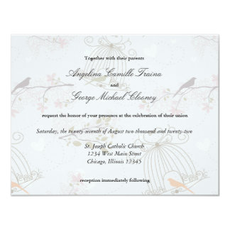 Trendy Birdcages And Flowers Wedding Invite