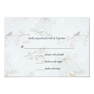 Trendy Birdcages And FlowersWedding Response Card
