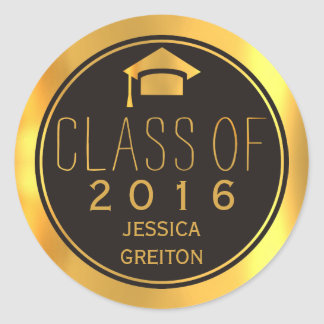 Trendy black and gold Class of 2016 graduation cap Classic Round Sticker