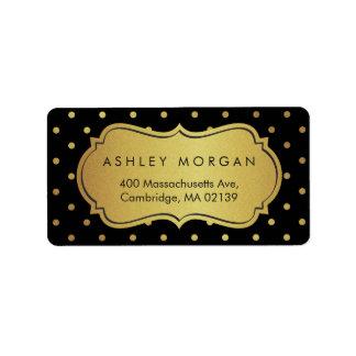 Trendy Black and Gold Glitter Polka Dots Address Label