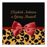 Trendy Black And Gold Leopard Print Bridal Shower 13 Cm X 13 Cm Square Invitation Card