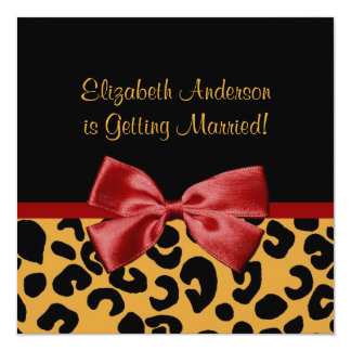 Trendy Black And Gold Leopard Print Bridal Shower Card