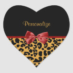 Trendy Black And Gold Leopard Print Red Ribbon