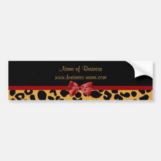 Trendy Black and Gold Leopard Print Red Ribbon Bow Bumper Sticker