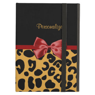 Trendy Black and Gold Leopard Print Red Ribbon Bow Cover For iPad Air