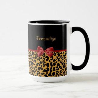 Trendy Black and Gold Leopard Print Red Ribbon Bow Mug