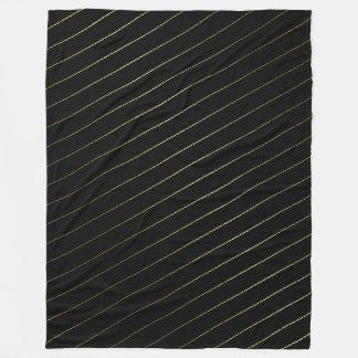 Trendy Black and Gold Striped Glamorous Design Fleece Blanket
