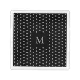 Trendy Black and Gray Polka Dots Pattern Monogram Acrylic Tray