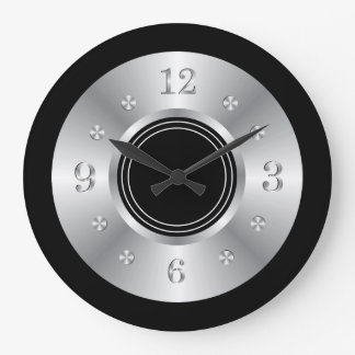 Trendy Black And Silver Large Clock