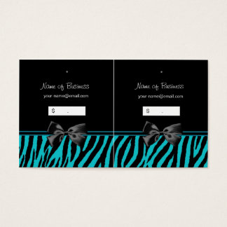 Trendy Black And Teal Zebra Print Hang Tags