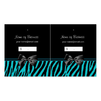 Trendy Black And Teal Zebra Print Hang Tags Pack Of Standard Business Cards