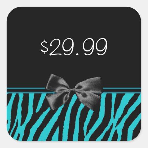 Trendy Black And Teal Zebra Print Price Tag Square Sticker