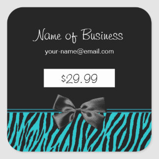 Trendy Black And Teal Zebra Print Price Tags Square Sticker