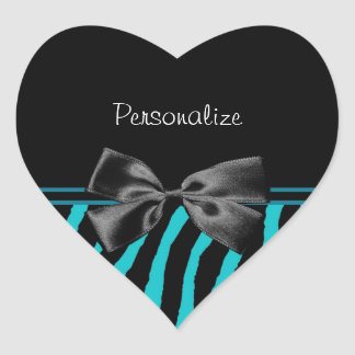 Trendy Black And Teal Zebra Print With Ribbon Heart Sticker
